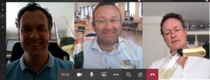 Screenshot van een online meeting met afbeeldingen van Armando Dörsek (links), Rogier Ammerlaan (midden) and Jaap de Roos (rechts)